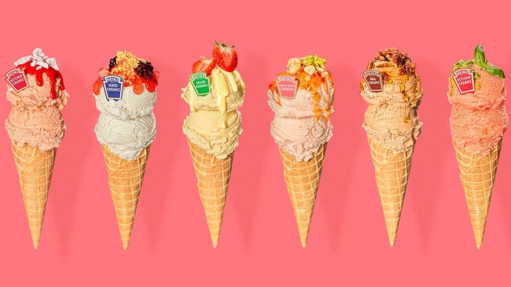 Scoops of Heinz Creamz in multiple flavors