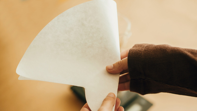 someone holding a folded coffee filter