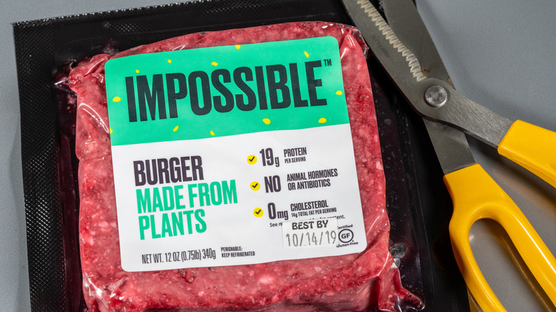 Impossible Burger and scissors