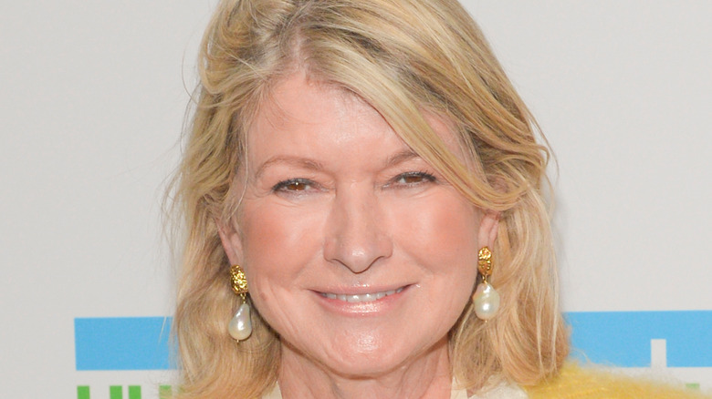 Martha Stewart wearing sunflower necklace