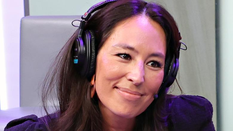 Close up of Joanna Gaines wearing headphones