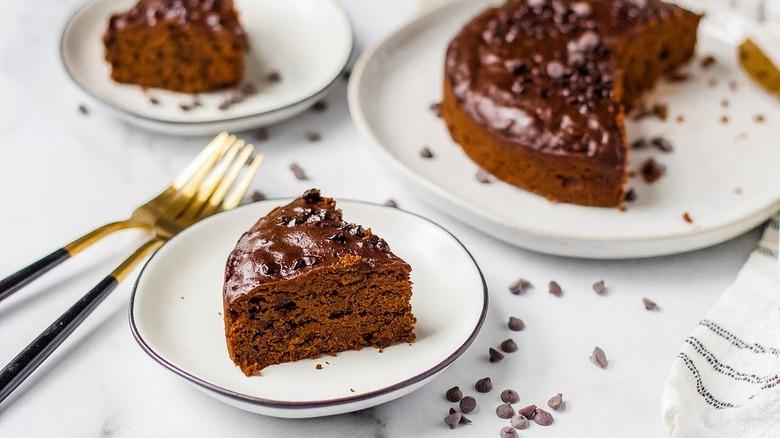 A brownie slice on a plate