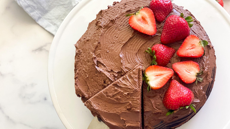 chocolate cake with strawberries and slice from above
