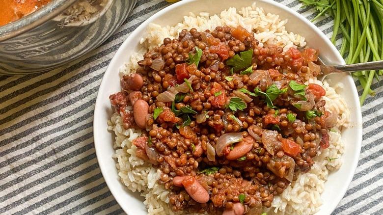 Bowl of rice and Dal Makhani