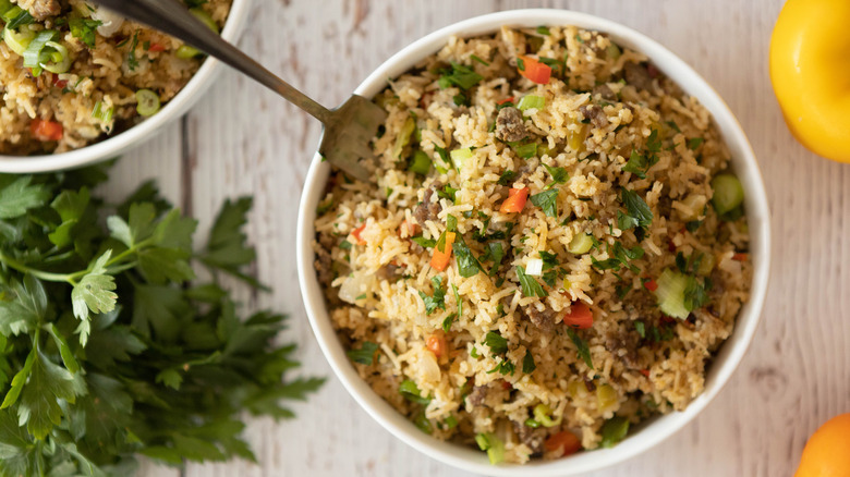 Instant Pot dirty rice served