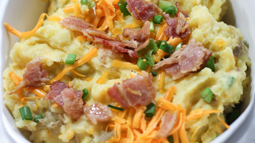 Instant Pot loaded mashed potatoes in dish