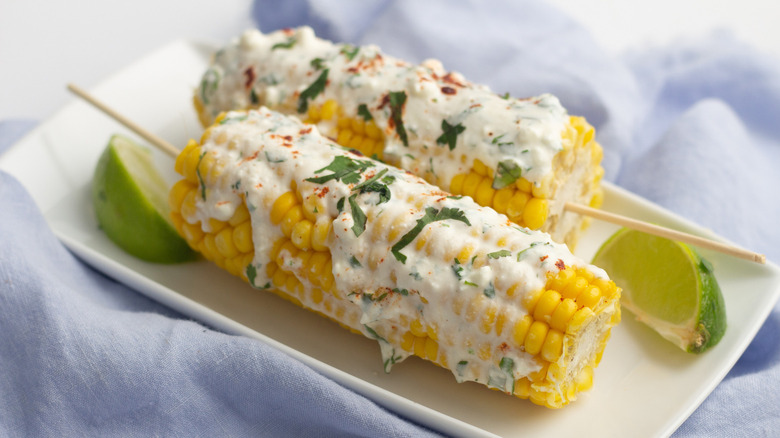 Instant pot Mexican street corn on plate