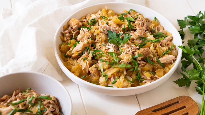 pork and sauerkraut in bowl