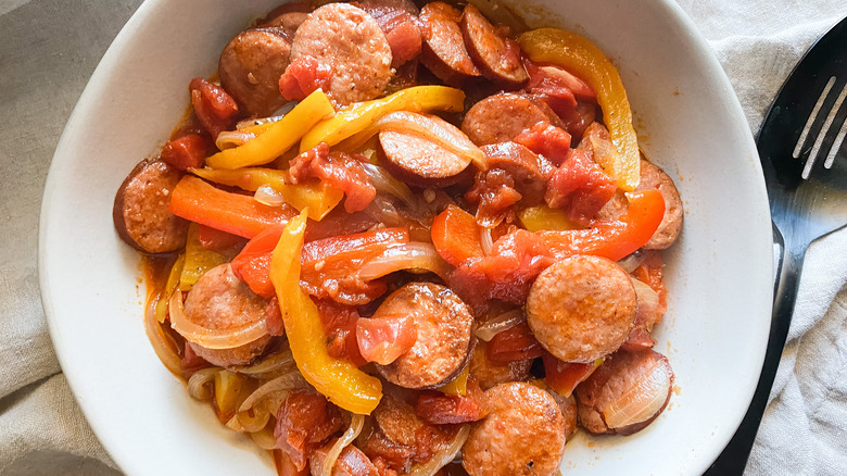 Instant Pot Sausage and Peppers in a bowl