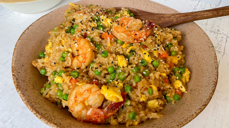 Instant Pot shrimp fried rice in bowl