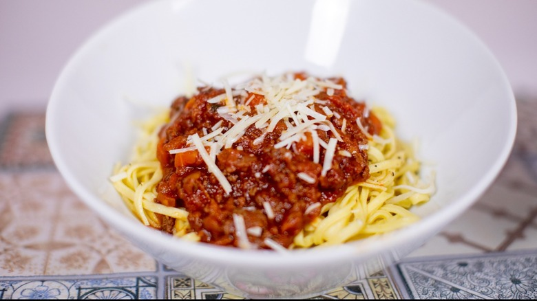 Spaghetti Bolognese in white bowl