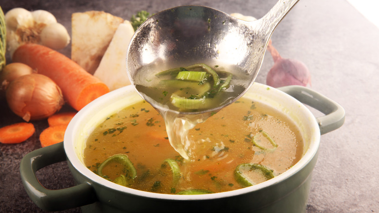Broth in a bowl