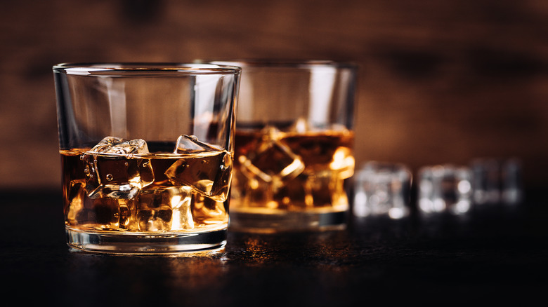 Two glasses of bourbon on the rocks