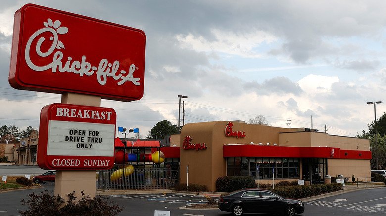 Chick-fil-A exterior with sign