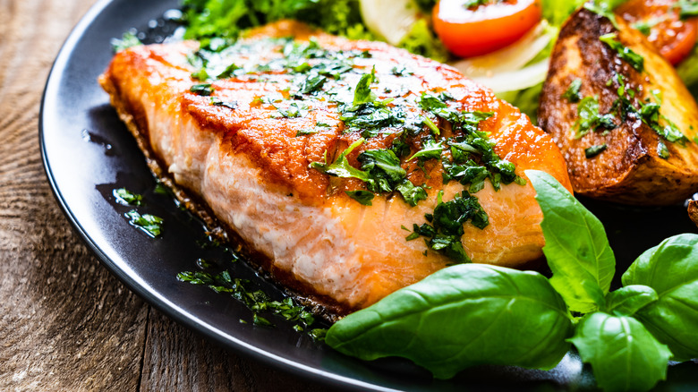 A cooked salmon fillet
