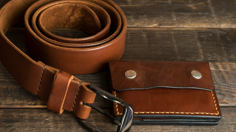 Leather belt and wallet