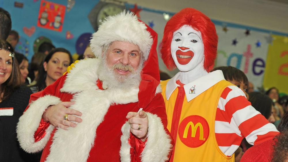 Ronald McDonald with Santa Clause