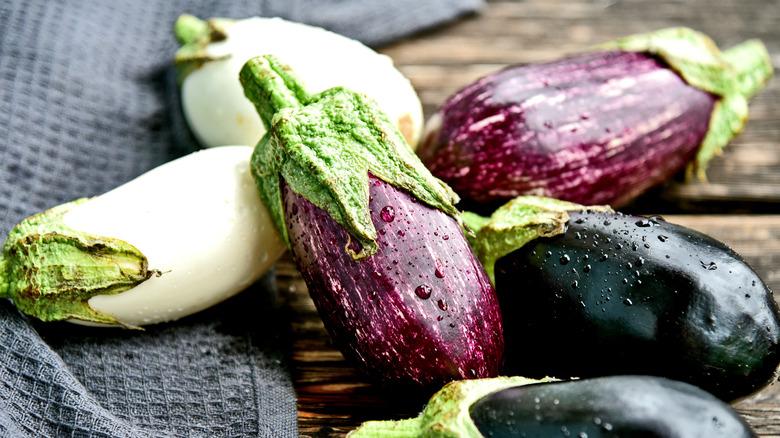 3 colors of eggplant