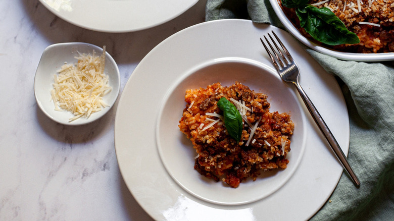 Italian rice ball casserole plated