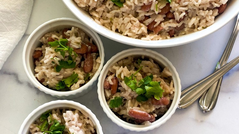 Jamaican rice and peas served