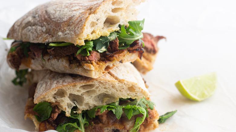 Jamie Oliver's steak sarnie with a twist on plate