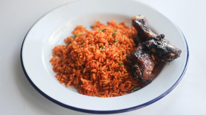 Jollof Rice served on a plate