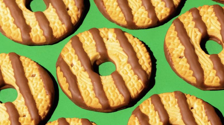 Keebler Fudge Stripe cookies on green background