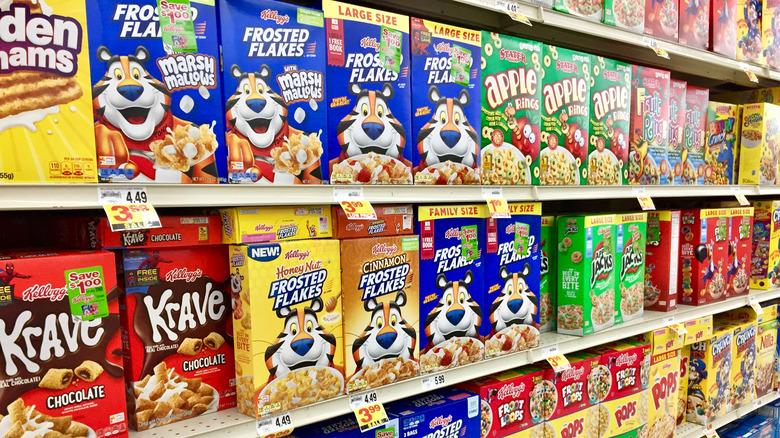 Kellogg's cereal on shelves