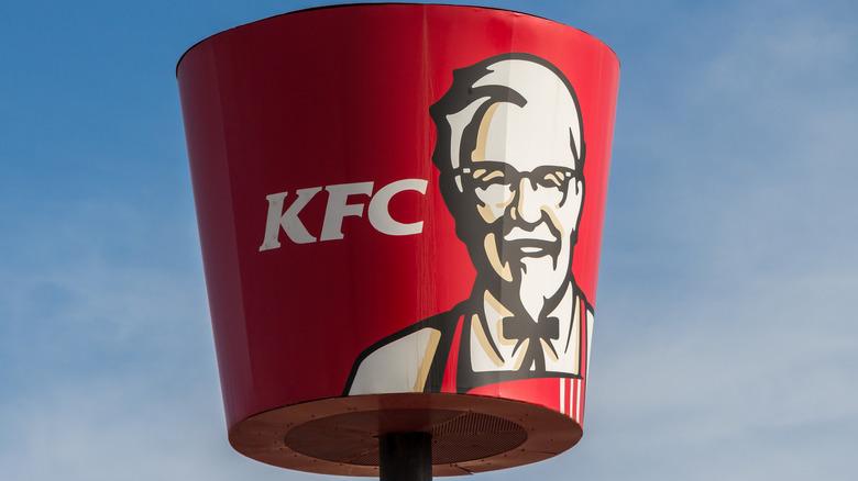 Close-up of KFC bucket outside of KFC