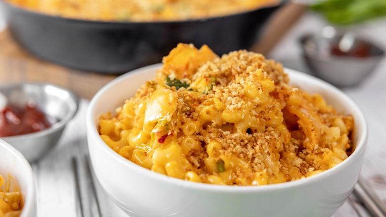 kimchi mac and cheese bowl