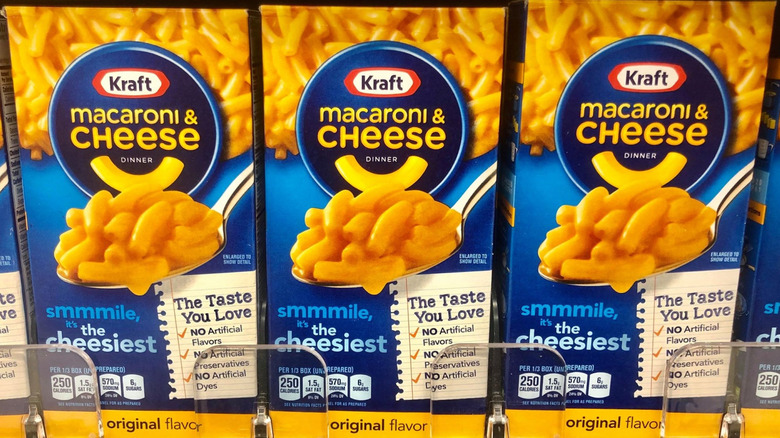 Boxes and Kraft macaroni and cheese