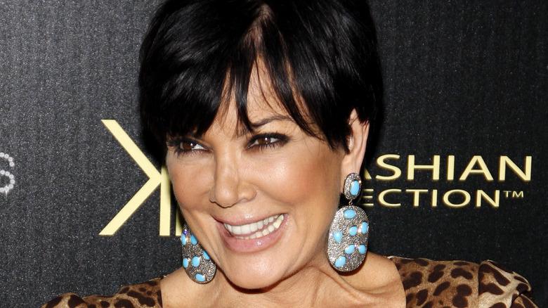 Kris Kardashian in leopard top