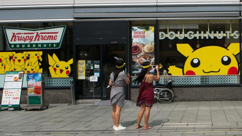 Krispy Kreme Doughnuts store with Pokemon ads