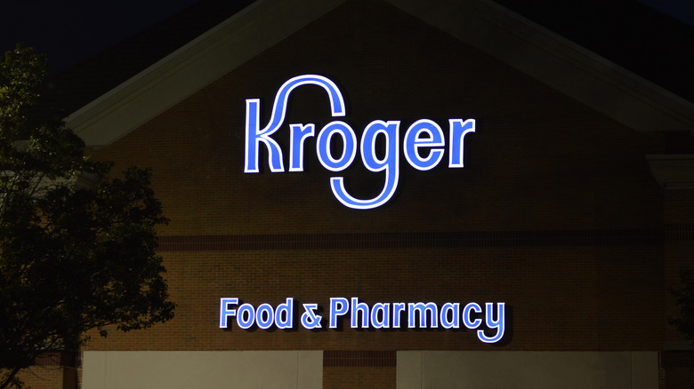 Kroger store exterior at night