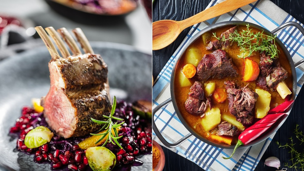 Roasted lamb dish and Jamaican curry goat dish