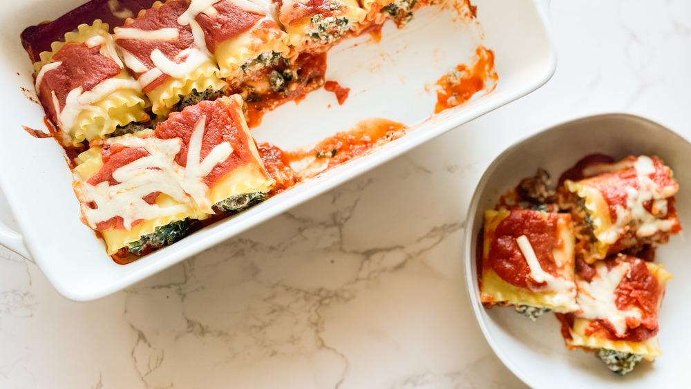 pan of Lasagna Roll Ups