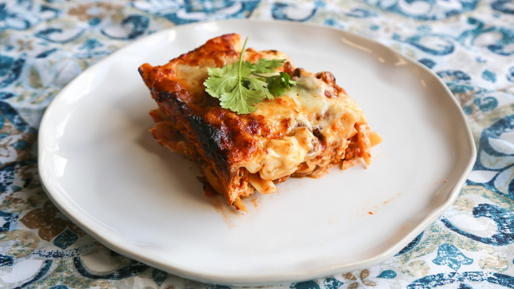 plated single serving of lasagna