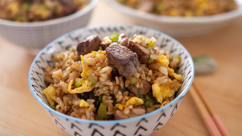 steak fried rice in bowl