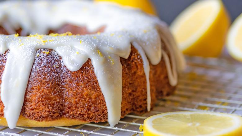 lemon cake on display