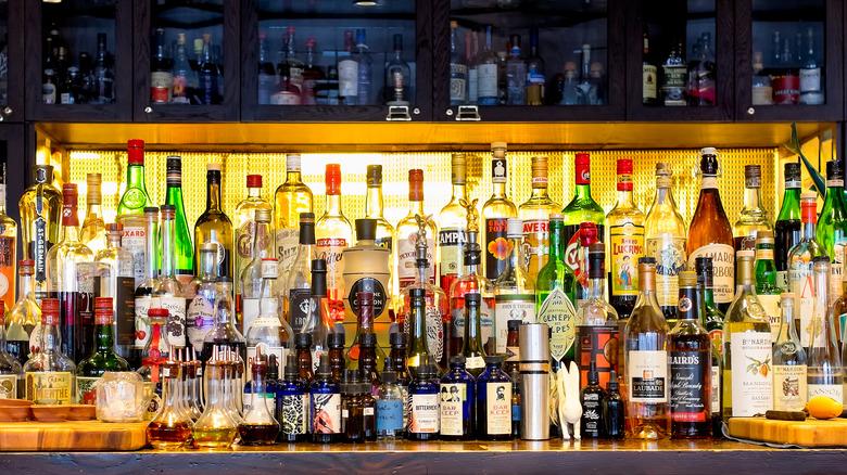 Bottles of alcohol at bar