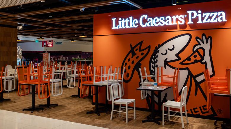 Inside a Little Caesars restaurant