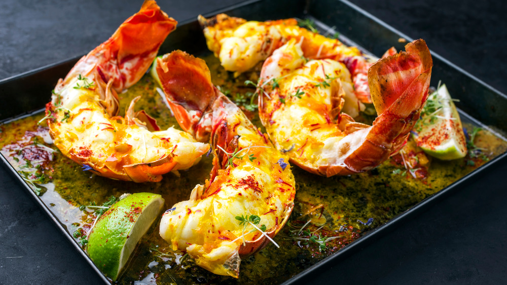 Lobster tails in a pan