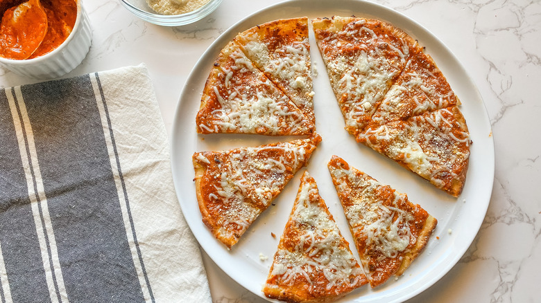 low-carb tortilla pizza on plate