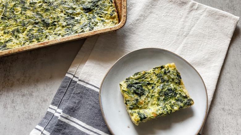 spinach pie slice on plate