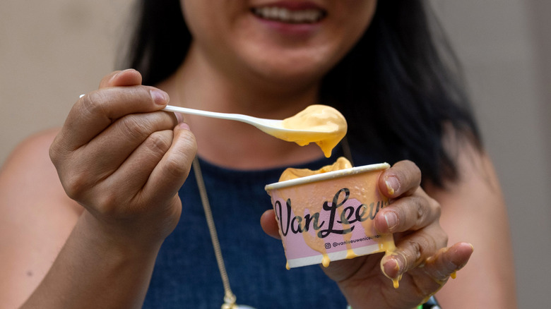 Van Leeuwen mac and cheese ice cream in a cup