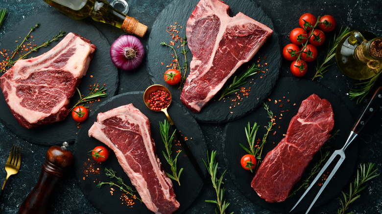 a selection of steaks