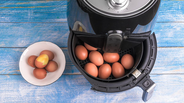 Cooked eggs in an air fryer