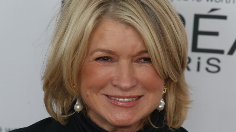 Close up of Martha Stewart wearing pearl earrings