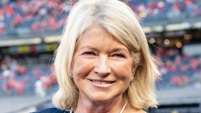Martha Stewart smiling during sporting event