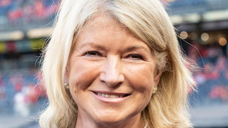 Martha Stewart smiling at baseball game